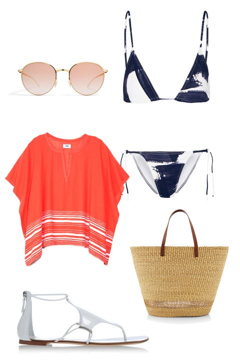 "Mykita Lite Sun Olsen Sunglasses, $548; <a target=""_blank"" href=""https://www.sunsvision.com/mykita-lite-olsen-1506789.html"">sunvision.com</a>  Eres Les Essentiels Paint Mouna and Paint Malou Triangle Bikini, $365; <a target=""_blank"" href=""http://rstyle.me/n/392u8bc6jf"">net-a-porter.com</a>  Old Navy Gauze Split-Neck Top, $17; <a target=""_blank"" href=""http://oldnavy.gap.com/browse/product.do?cid=72300&amp;tid=onsm004538&amp;vid=1&amp;pid=432267012"">oldnavy.gap.com</a>  Muun Andree Straw Tote, $315; <a target=""_blank"" href=""http://rstyle.me/n/zfeqgbc6jf"">modaoperandi.com</a>  Casadei Sandals, $428; <a target=""_blank"" href=""http://rstyle.me/n/3922vbc6jf"">shoescribe.com</a>"