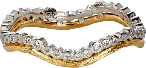 "Cathy Waterman Double-Band Ring, $4,400; <a href=""http://www.barneys.com/cathy-waterman-double-band-ring-504094053.html#sz=238&pageviewchange=true&start=1"">barneys.com</a>"
