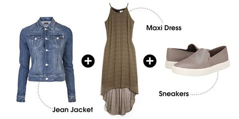 "A flowy maxi dress topped off with a denim jacket will keep you warm while the sun sets. Slip-on sneakers let you navigate tricky terrain without sacrificing style.   Mother Bully Denim Jacket, $275, <a target=""_blank"" href=""http://www.saksfifthavenue.com/main/ProductDetail.jsp?PRODUCT%3C%3Eprd_id=845524446809319"">saksfifthavenue.com</a> / Old Navy Women's Hi-Lo Chiffon Maxi Dress, $25, <a target=""_blank"" href=""https://ad.doubleclick.net/ddm/clk/293003562;120185264;u"">oldnavy.com</a> / Vince Blair 5 Slip-On Sneaker, $195, <a target=""_blank"" href=""http://couture.zappos.com/vince-blair-5-woodsmoke"">zappos.com</a>"