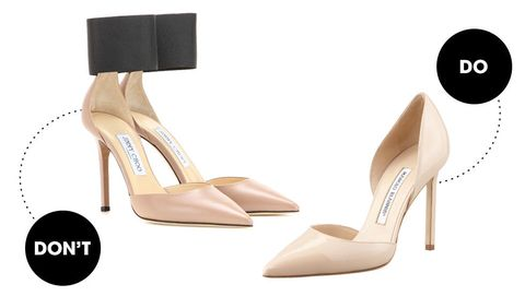 "This is a <em>major</em> don't. Giant ankle straps will chop off your 27"" inseam even shorter, giving you stubs for legs. Pumps are the most flattering style, especially in nude. Need more proof? Two words: Kim Kardashian.   <!--EndFragment-->    Jimmy Choo Trinny Leather Pumps, $775; <a href=""http://www.mytheresa.com/en-us/trinny-leather-pumps.html"">mytheresa.com</a>  Manolo Blahnik Tayler Patent Pointed d'Orsay, $735; <a href=""http://www.bergdorfgoodman.com/Manolo-Blahnik-Tayler-Patent-Pointed-d-Orsay-Nude-Pumps/prod109380007_cat379623__/p.prod?icid=&amp;searchType=EndecaDrivenCat&amp;rte=%2Fcategory.jsp%3FitemId%3Dcat379623%26pageSize%3D120%26No%3D0%26refinements%3D&amp;eItemId=prod109380007&amp;cmCat=product"">bergdorfgoodman.com</a>"