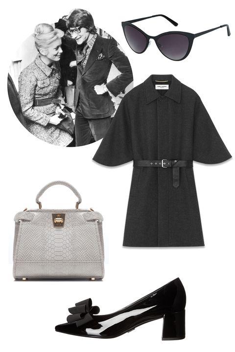 "<p>Saint Laurent Belted Cape Coat, $4,590; <a href=""http://www.ysl.com/us/shop-product/women/ready-to-wear-coats-belted-cape-coat-in-anthracite-cashmere-melange_cod41549313ps.html#dept=rtw_women_&itemPage=2"">ysl.com</a></p><p>Topshop Flat Metal Cat Eye Sunglasses, $30; <a href=""http://us.topshop.com/webapp/wcs/stores/servlet/ProductDisplay?langId=-1&storeId=13052&catalogId=33060&productId=19144772&categoryId=276990&parent_category_rn=208713"">topshop.com</a></p><p>Michael Kors Marlow Runway, $650; <a href=""http://www.zappos.com/michael-kors-marlow-runway-black-patent-grosgrain"">zappos.com</a></p><p>Zara Mini City Bag with Double Closure, $60; <a href=""http://www.zara.com/us/en/collection-aw15/woman/bags/mini-city-bag-with-double-closure-c269200p2773349.html"">zara.com</a></p>"