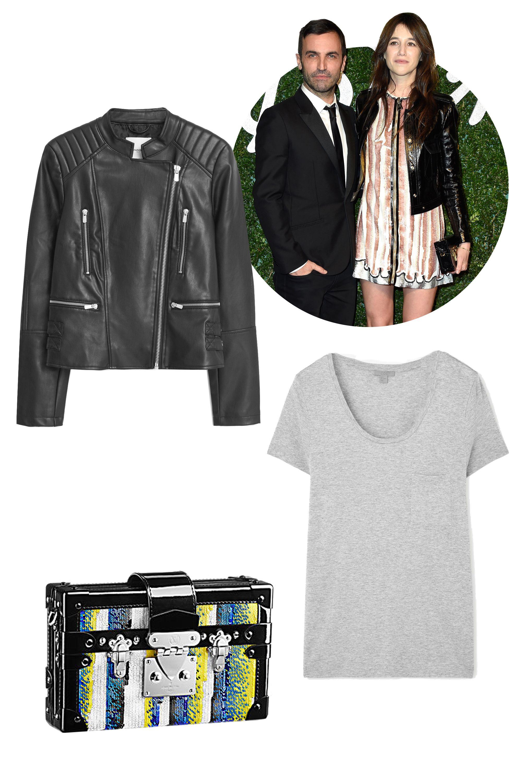 "<p>Louis Vuitton Petite Malle Sequins, $6,600&#x3B; <a href=""http://us.louisvuitton.com/eng-us/products/petite-malle-sequins-010468"">louisvuitton.com</a></p><p>Mango Leather Biker Jacket, $100&#x3B; <a href=""http://shop.mango.com/US/p0/women/clothing/jackets/leather-biker-jacket/?id=53090060_99&n=1&s=prendas.chaquetas&ident=0__0_1436379500434&ts=1436379500434"">mango.com</a></p><p>Cos Round-Neck T-Shirt, $35&#x3B; <a href=""http://www.cosstores.com/us/Women/Tops/T-shirts/Round-neck_t-shirt/10673111-16835320.1#c-15133331"">cosstores.com</a></p>"