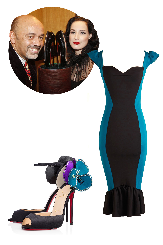 "<p>Christian Louboutin Pensamoi, $1,395&#x3B; <a href=""http://us.christianlouboutin.com/us_en/shop/women/pensamoi-331336.html"">christianlouboutin.com</a></p><p>Modcloth Surely Be Msystifying Dress, $150&#x3B; <a href=""http://www.modcloth.com/shop/dresses/surely-be-mystifying-dress"">modcloth.com</a></p>"