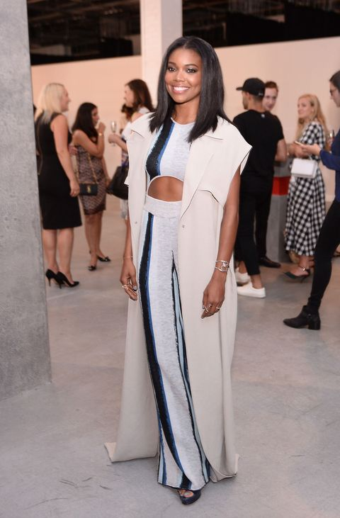 "<p>Who: Gabrielle Union</p><p class=""MsoNormal"">When: July 14, 2015<o:p></o:p></p><p class=""MsoNormal"">Why: Sporting a knit jumpsuit and floor-length vest by Baja East, Union looks long and lean. A curated collection of silver jewelry by <a href=""http://www.wmagazine.com/tag/pamela-love"">Pamela Love</a>, <a href=""http://www.wmagazine.com/fashion/accessories/2014/07/nora-kogan-brooklyn-jewelry-store/photos/"">Nora Kogan</a>, and Xiao Wang compliments the cool tones of her outfit. </p>"