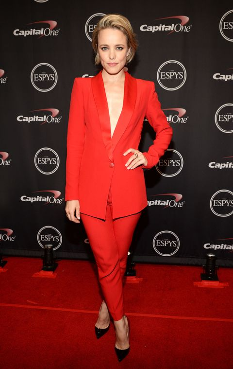 """<p>Who: Rachel McAdams</p><p class=""""MsoNormal"""">When: July 15, 2015<o:p></o:p></p><p class=""""MsoNormal"""">Why: Calling McAdams' outfit """"red hot"""" doesn't quite seem to do it justice. Her cardinal-colored power suit paired with ombre Christian Louboutin pumps is perfection. The deep V of the blazer adds a touch of sex appeal while her casual side-part keeps her look laid-back.</p>"""