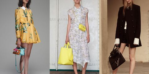 Clothing, Yellow, Sleeve, Shoulder, Pattern, Bag, Textile, Joint, Style, Fashion accessory,