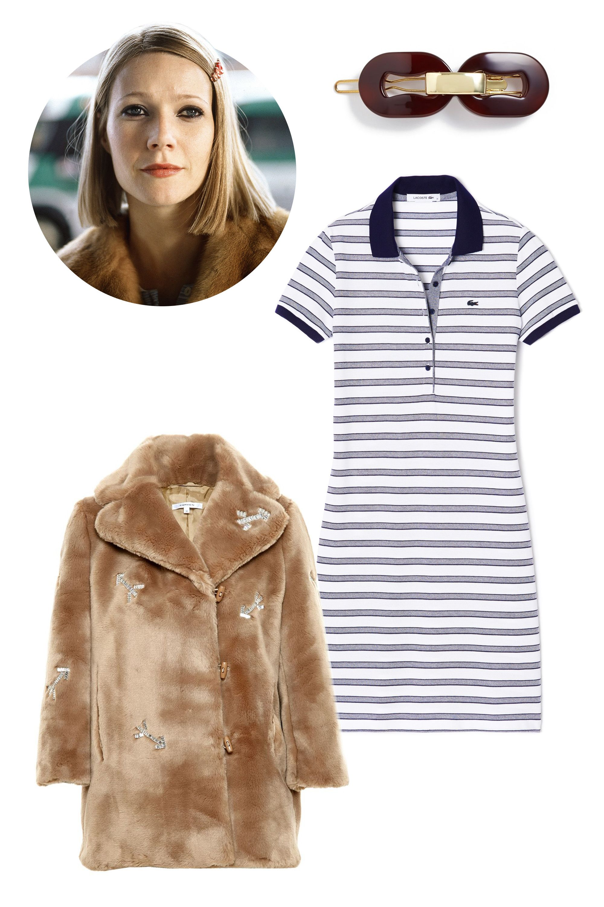 "<p>Carven Crystal Embellished Faux Fur Coat, $1,470; <a href=""http://www.farfetch.com/shopping/item10849317.aspx"">farfetch.com</a></p><p>L. Erickson Metal Link Tige Boule Barrette, $45; <a href=""http://shop.nordstrom.com/s/l-erickson-metal-link-tige-boule-barrette/4056095?cm_mmc=polyvorecpcdesktop-_-datafeed-_-women:hair_accessories:hair_accessories-_-1134123&mr:referralID=0872effc-2ac7-11e5-bcb1-00505694526f"">nordstrom.com</a></p><p>Lacoste Stripe Pique Polo Dress, $82; <a href=""http://www.lacoste.com/us/lacoste/women/clothing/dresses-skirts/stripe-pique-polo-dress/EF7189-51.html?dwvar_EF7189-51_color=525"">lacoste.com</a></p>"