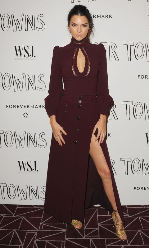 "<p>Who: Kendall Jenner</p><p class=""MsoNormal""><o:p></o:p></p><p class=""MsoNormal"">When: July 18, 2015<o:p></o:p></p><p class=""MsoNormal"">Why: Supporting her buddy Cara Delevingne's foray into Hollywood, Jenner attended the premiere of <i>Paper Towns </i>in a monochrome look by Zimmermann. Despite the Victorian silhouette of her top, that gaping keyhole  and thigh-high slit adds some major sex appeal.</p>"