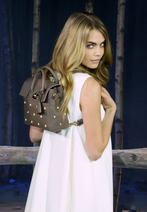 "<p><strong>Brand:</strong> <a href=""http://www.mulberry.com/us/shop/cara-delevingne"">Mulberry</a></p><p><strong>Name: </strong>Cara Delevingne Bag</p><p><strong>Cost: </strong>$1,270-$2,880</p><p><strong>Buy it here: </strong><a href=""http://www.mulberry.com/us/shop/cara-delevingne"">Mulberry</a></p>"