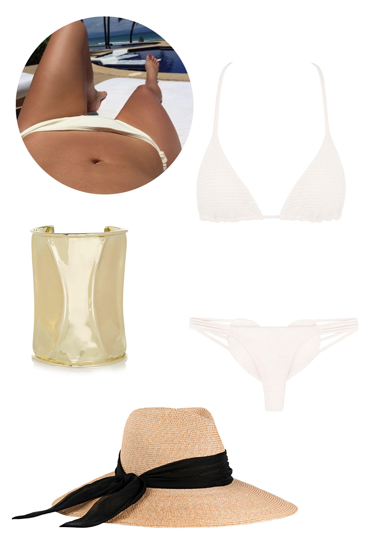 "<p>Bettins Smocked Triangle Top, $74; <a href=""http://shop.bikini.com/products/bettinis-bone-smocked-triangle-top"">bikini.com</a></p><p class=""MsoNormal"">Betins Smocked Heart Bottom, $77; <a href=""http://shop.bikini.com/products/bettinis-bone-smocked-heart-bottom"">bikini.com</a><o:p></o:p></p><p class=""MsoNormal"">Anndra Neen Tube Streak Gold-Tone Cuff, $485; <a href=""http://www.net-a-porter.com/us/en/product/572108"">net-a-porter.com</a><o:p></o:p></p><p class=""MsoNormal"">Eugenia Kim Cassidy Hat, $390; <a href=""http://www.eugeniakim.com/cassidy-6/#.Vaqu8Luj1bk"">eugeniakim.com</a></p>"