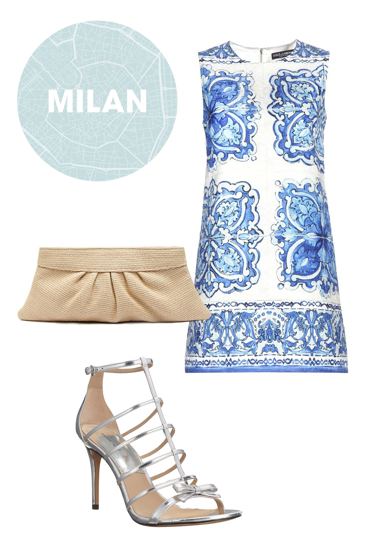 "<p class=""MsoNormal"">Dolce & Gabbana Jacquard Dress, $1,875; <a href=""http://www.mytheresa.com/en-us/jacquard-dress-435020.html"">mytheresa.com</a></p><p class=""MsoNormal"">Lauren Merkin Clutch, $195; <a href=""http://www1.bloomingdales.com/shop/product/lauren-merkin-clutch-louise-raffia?ID=1248192&CategoryID=16958#fn%3Dspp%3D10"">bloomingdales.com</a></p><p class=""MsoNormal"">Michael Kors Blythe, $395; <a href=""http://www.zappos.com/michael-kors-blythe-silver-specchio?ef_id=VQOf0gAAAF4DomAk:20150719234226:s"">zappos.com</a></p>"