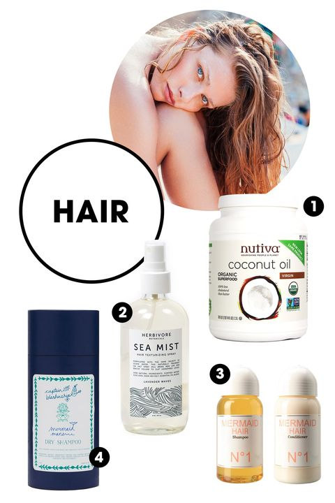 """<p>1. You'd be hard-pressed to find a conditioner as natural, pure, and effective as raw coconut oil. Apply it all over as a masque, and rinse thoroughly for soft and replenished locks.</p><p>Nutiva Organic Virgin Coconut Oil, $16; <a href=""""https://thrivemarket.com/nutiva-organic-virgin-coconut-oil-29-oz-jar?fee=1&fep=1333&utm_source=google&utm_medium=pla&utm_campaign=Default%20Category%2CMark%20Sisson%27s%20Paleo%20Pantry%20Staples%2CHoliday%2CHoliday%20%3E%20Holiday%20Cooking%20%26%20Condiments%2CFood%2CFood%20%3E%20Cooking%20%26%20Baking%2CFood%20%3E%20Cooking%20%26%20Baking%20%3E%20Oils%20%26%20Vinegar&utm_content=692752200021-Organic%20Virgin%20Coconut%20Oil&gclid=CLz316Gq_sYCFUcXHwoduDwOkQ"""">thrivemarket.com</a></p><p>2. We can't decide what we love more about this formula: The subtle, lavender scent or the un-crunchy, perfectly tousled beach waves it creates.</p><p>Herbivore Botanicals Sea Mist, $20; <a href=""""http://www.herbivorebotanicals.com/products/sea-mist-lavender"""">herbivorebotanicals.com</a></p><p>3. In addition to being naturally formulated and sulfate-free, the orange-coconut scent of this cute, cult-favorite set might just transport you to the tropics.</p><p>Mermaid Shampoo and Conditioner, $60; <a href=""""https://www.mermaidperfume.com/mermaid/product/48-mermaid-shampoo-conditioner"""">mermaidperfume.com</a></p><p>4. Made with kaolin clay and rice powder, this dry shampoo absorbs excess oil and leaves a delicate floral scent—and no messy buildup.</p><p>Captain Blankenship Mermaid Dry Shampoo Powder, $24; <a href=""""http://www.rodales.com/mermaid-dry-shampoo-powder/E001915001.html?cid=ppc_Google_Rodales_PLA_Tend_MermaidDryShampooPowder_Phrase"""">rodales.com</a></p>"""