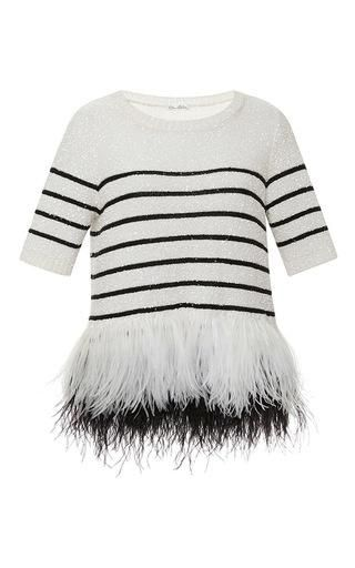 "<p>Oscar de la Renta Striped Feather Hem Sweater, $1,226; <a href=""https://www.modaoperandi.com/oscar-de-la-renta-ss15/feathered-bottom-stripe-sweater"">modaoperandi.com</a></p>"
