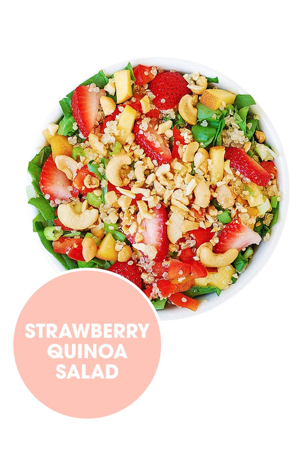 "<p>Instead of croutons, use quinoa and cashews to add crunch.</p><p>Get the recipe from <a href=""http://juliasalbum.com/2014/07/strawberry-quinoa-spinach-cashew-salad/"">Julia's Album</a>.</p>"