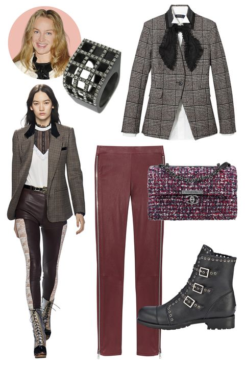 "<p><strong><strong>Inspiration:</strong></strong> Rodarte, Fall 2015</p><p><strong>Shop the Look</strong>: Veronica Beard Wool-Blend Blazer, 895; <a href=""http://veronicabeard.com/items/the-valley-dickey-jacket-with-upstate-dickey"">veronicabeard.com</a>; Polo Ralph Lauren Cotton Shirt, $145, Gauze Scarf, $58; both <a href=""http://www.ralphlauren.com/home/index.jsp?utm_source=PaidSearch&utm_medium=Google&utm_campaign=Google-B-Polo-BMM-RLSA&utm_term=+ralph++polo&002=2502554&004=19144213517&005=19578528059&006=72494373077&007=Search&008&025=c&026&gclid=CjwKEAjwovytBRCdxtyKqfL5nUISJACaugG1AHfTFg3_8blFGqC4l7WPGB6HF8FVUxr4JYfHjfVgQRoCTvjw_wcB"">ralphlauren.com</a>; Vince Lambskin Leggings, $1,095; <a href=""http://www.vince.com/leather-leggings-with-side-zippers/invt/vnv290021075&color=Black&bklist=icat,5,,women,wpants_all,wpantsleggings"">vince.com</a></p><p><strong>Accessories:</strong> Sardo Blackened Silver and Brown Diamond Ring, $3,990; <a href=""http://newyork.doverstreetmarket.com/dsmpaper/jewelry.html"">doverstreetmarket.com</a>; Jimmy Choo Leather Ankle Boot, $1,495; <a href=""http://us.jimmychoo.com/en/women/shoes/boots/ankle-boots/darkle-flat/black-grainy-leather-biker-boots-with-shearling-lining-DARKLEFLATGYH010003.html?cgid=women-shoes-boots-ankle#dwvar_DARKLEFLATGYH010003_color=BLACK&start=36&searchgridpos=36&srule=Merchandising Default"">jimmychoo.com</a>; CHANEL Tweed Handbag, $4,300; available at select CHANEL boutiques</p>"