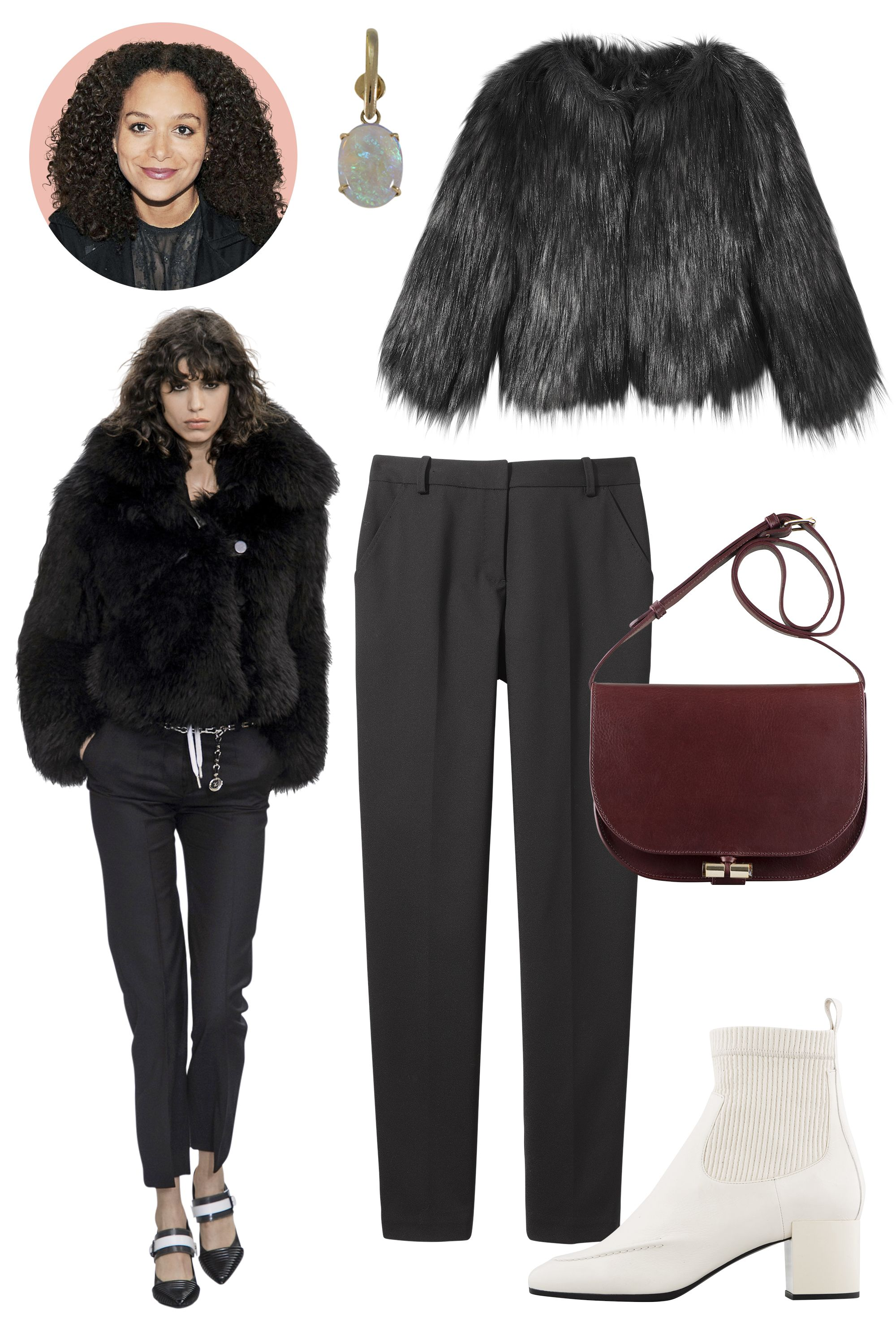 "<p><strong>Inspiration: </strong>Louis Vuitton, Fall 2015</p><p><strong>Shop the Look: </strong>Diesel Faux-Fur Jacket, $398; <a href=""http://shop.diesel.com/homepage?gclid=CjwKEAjwovytBRCdxtyKqfL5nUISJACaugG1R4gJpjN2PWShKqWbS5_PQru0fdoBuFVBZbvhzhOvSxoCzCHw_wcB&gclsrc=aw.ds"">diesel.com</a>; Rag & Bone Wool Trousers, $395; <a href=""http://www.rag-bone.com/womens/pants/montgomery-pant-W2557157T.html#start=1"">rag-bone.com</a></p><p><strong><strong>Accessories</strong>: </strong>Ana Khouri Opal and Gold Earring, $4,768; Dover Street Market; A.P.C. Leather Handbag, $530; <a href=""http://usonline.apc.fr/june-bag-pxanh-f61093?utm_source=googleshopping&utm_medium=cse&utm_source=google&utm_medium=cse&utm_term=F61093&gclid=CjwKEAjwovytBRCdxtyKqfL5nUISJACaugG16vuCc5pgBjxTU0_tuioTqyPzIRcQAGXhnHL0ETZvuRoCAqjw_wcB#Black"">apc.fr</a>; Pierre Hardy Patent Leather Ankle Boot, $1,145; Collection at Blake, Chicago.</p>"