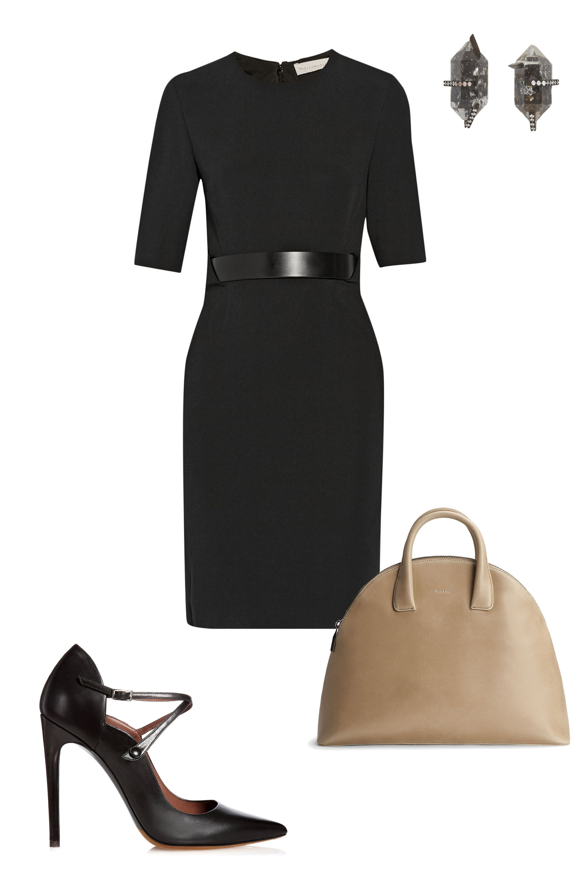 "<p>They say you should dress for the job you want. A fitted dress and an intimidating pair of pumps scream ""business mogul,"" so start prepping for your days as the future CEO of Google. </p><p class=""MsoNormal"">Stella McCartney Andra Stretch-Cady Dress, $2,340; <a href=""http://www.net-a-porter.com/us/en/product/457660"">net-a-porter.com</a><o:p></o:p></p><p class=""MsoNormal"">Tabitha Simmons Mari, $795; <a href=""http://shop.tabithasimmons.com/mari-black-kidskin/"">tabithasimmons.com</a><o:p></o:p></p><p class=""MsoNormal"">Matt and Nat Nemesis, $158; <a href=""http://mattandnat.com/shop/handbags/all-handbags/nemesis-cardamom"">mattandnat.com</a><o:p></o:p></p><p class=""MsoNormal"">Monique Péan Diamond, White Gold & Herkimer Stud Earrings, $4,750; <a href=""http://www.barneys.com/monique-p%C3%A9an-diamond%2C-white-gold-herkimer-stud-earrings-503334529.html#start=4"">barneys.com</a></p>"