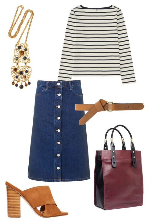 "<p>A denim midi skirt and a casual striped shirt are perfect for chasing down those little tykes on the playground. Still, maybe you should save these mules for a standardized test day.</p><p class=""MsoNormal"">Topshop Moto Denim Button Front Midi Skirt, $58; <a href=""http://us.topshop.com/webapp/wcs/stores/servlet/ProductDisplay?langId=-1&storeId=13052&catalogId=33060&productId=19599710&categoryId=1093381&parent_category_rn=208649"">topshop.com</a><o:p></o:p></p><p class=""MsoNormal"">Mango Skinny Belt, $35; <a href=""http://shop.mango.com/US/p0/women/accessories/belts/skinny-belt/?id=53035638_CU&n=1&s=accesorios.cinturones&ident=0__0_1438920504118&ts=1438920504118"">mango.com</a><o:p></o:p></p><p class=""MsoNormal"">Uniqlo Striped Boat Neck Long Sleeve T-Shirt, $20; <a href=""http://www.uniqlo.com/us/product/women-striped-boat-neck-long-sleeve-t-shirt-158563.html"">uniqlo.com</a><br></p><p class=""MsoNormal"">New Look Tan Cross Front Block Heeled Sandals, $46; <a href=""http://us.asos.com/New-Look-Pully-Tan-Cross-Front-Block-Heeled-Sandals/16yeg3/?iid=5656473&clr=Tan&SearchQuery=block+heel&pgesize=36&pge=0&totalstyles=44&gridsize=3&gridrow=1&gridcolumn=2&mporgp=L25ldy1sb29rL25ldy1sb29rLXRhbi1jcm9zcy1mcm9udC1ibG9jay1oZWVsZWQtc2FuZGFscy9wcm9kLw.."">asos.com</a><o:p></o:p></p><p class=""MsoNormal"">Ben-Amun Gold-Plated Cachochon Necklace, $430; <a href=""http://www.net-a-porter.com/us/en/product/572197"">net-a-porter.com</a><o:p></o:p></p><p class=""MsoNormal"">AANDD Paddle Tote, $498; <a href=""http://www.adamanddavidson.com/new-products/paddle-tote-currant-black"">adamanddavidson.com</a><o:p></o:p></p><p class=""MsoNormal""><br></p>"
