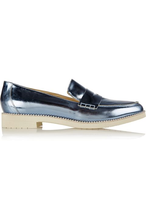 "<p>Oscar de la Renta Tenzin Embellished Metallic Leather Loafers, $690; <a href=""http://www.net-a-porter.com/us/en/product/577788"" target=""_blank"">net-a-porter.com</a></p>"