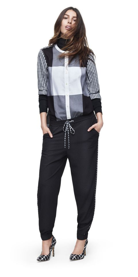 Brown, Sleeve, Trousers, Shoulder, Textile, Outerwear, White, Style, Fashion, Black,