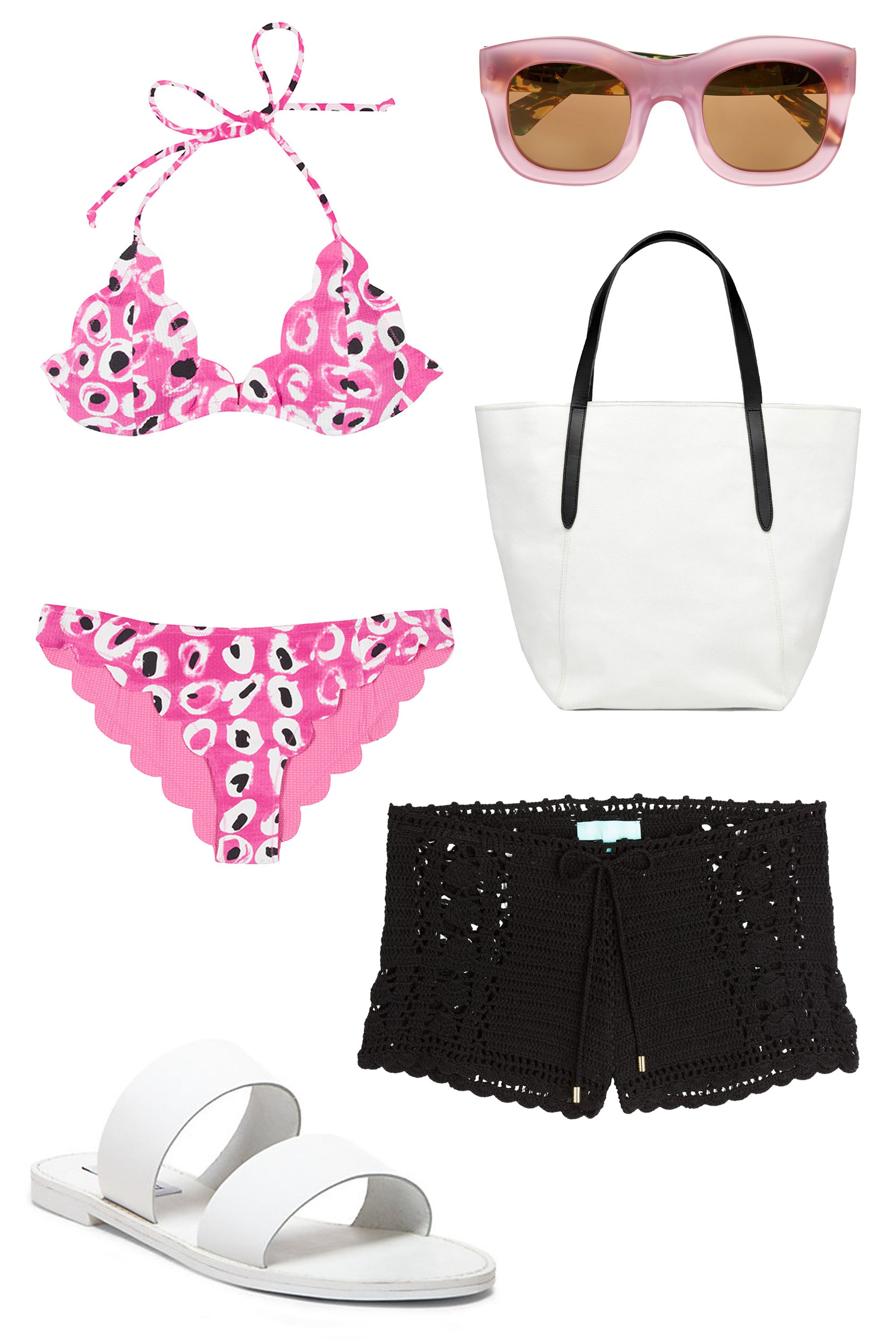 "<p>Going to the beach on a first day can be overwhelming to say the least. Impress him with your confidence—and there is nothing that screams confidence like showing you're comfortable in a bathing suit. Whether you opt for a bikini or a <a href=""http://www.elle.com/fashion/trend-reports/news/g7862/one-piece-bathingsuits/"">chic one-piece</a>, go for something colorful and with a print that shows off your fun side. </p><p>Marysia Swim Broadway Bikini, $272; <a href=""http://marysiaswim.com/product/broadway-2/"">marysiaswim.com</a></p><p>Illesteva Hamilton D-Frame Acetate Mirrored Sunglasses, $290; <a href=""http://rstyle.me/n/x3sjfbc6jf"">net-a-porter.com</a></p><p>Cuyana Canvas Beach Tote, $110; <a href=""http://www.cuyana.com/canvas-beach-tote-black.html"">cuyana.com</a></p><p>Melissa Odabash Macrame Shorts, $200; <a href=""http://rstyle.me/n/74etcbc6jf"">stylebop.com</a></p><p>Steve Madden Malta Sandals, $70; <a href=""http://rstyle.me/n/74et5bc6jf"">stevemadden.com</a></p>"