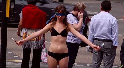This Woman Stood Blindfolded in Her Underwear and Let People Draw on Her to Encourage Body Acceptance
