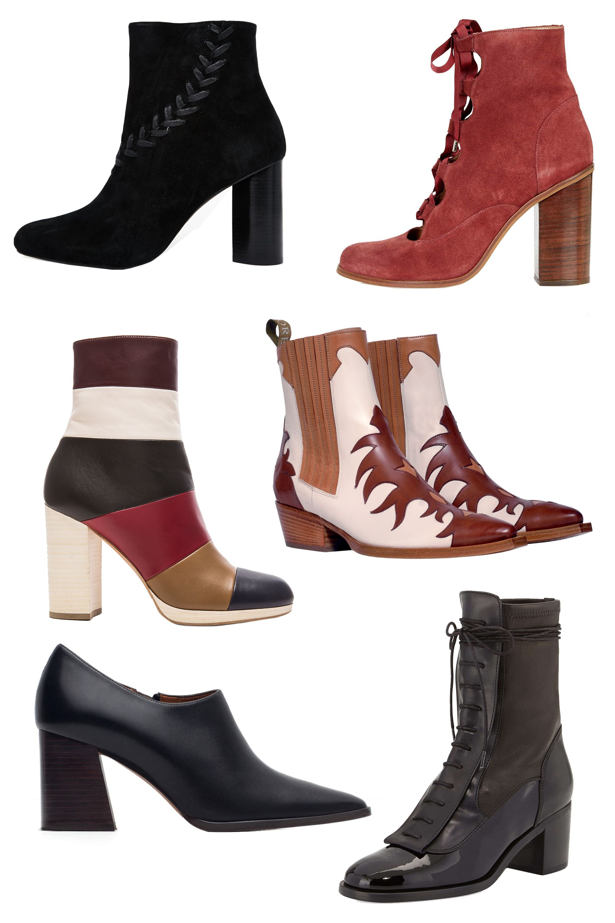 """<p class=""""MsoNormal"""">Senso Sara Heeled Ankle Boots, $302; <a href=""""http://us.asos.com/Senso/Senso-Sara-Black-Suede-Heeled-Ankle-Boots/Prod/pgeproduct.aspx?iid=5168454&cid=6455&sh=0&pge=0&pgesize=204&sort=-1&clr=Black&totalstyles=233&gridsize=3"""">asos.com</a><o:p></o:p></p><p class=""""MsoNormal"""">Topshop Magpie Ghillie Ankle Boots,<br> $160; <a href=""""http://us.topshop.com/en/tsus/product/shoes-70484/boots-70514/magpie-ghillie-ankle-boots-4583089?bi=0&ps=200"""">topshop.com</a><o:p></o:p></p><p class=""""MsoNormal"""">Valentino Multicolor Leather Booties,<br> $1,375; <a href=""""http://www.fwrd.com/product-valentino-multicolor-leather-booties-in-cognac-marine-scarlet/VENT-WZ201/?d=Womens&srcType=plpaltimage&list=plp-list-6"""">fwrd.com</a><o:p></o:p></p><p class=""""MsoNormal"""">Sartore Western Boots, €339; <a href=""""http://www.sartore.fr/eshop/femme/boots/sr1771-e15.html?___SID=U#92=207&137=33&135=9"""">sartore.fr</a><o:p></o:p></p><p class=""""MsoNormal"""">Zara Leather Ankle Boot Style Shoes,<br> $119; <a href=""""http://www.zara.com/us/en/woman/shoes/view-all/leather-ankle-boot-style-shoes-c734142p2901038.html"""">zara.com</a><o:p></o:p></p><p class=""""MsoNormal"""">Laurence Decade Inde Lace-Up Leather<br> Ankle Boot, $1,325; <a href=""""http://www.neimanmarcus.com/Laurence-Dacade-Inde-Lace-Up-Leather-Ankle-Boot-Black-Laurence-Dacade/prod179660007_cat46430759__/p.prod?icid=&searchType=EndecaDrivenCat&rte=%2Fcategory.jsp%3FitemId%3Dcat46430759%26pageSize%3D120%26No%3D0%26refinements%3D&eItemId=prod179660007&cmCat=product"""">neimanmarcus.com</a><span></span></p>"""