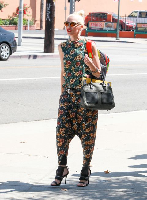 """<p>Who: Gwen Stefani</p><p class=""""MsoNormal"""">When: August 23, 2015</p><p class=""""MsoNormal"""">Why: Gwen Stefani is the only person who could make a floral, drop-crotch, matching set work. To top it off, she accessorized with mirrored sunglasses and fringed heels. She's definitely dressing on expert mode.    </p>"""