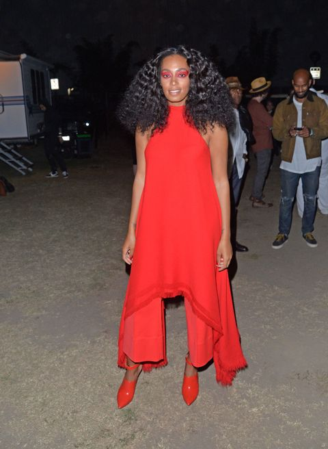 <p>Who: Solange Knowles</p><p>When: August 23, 2015</p><p>Why: Solange took monochrome to a whole new level with her fiery outfit, complete with red eye shadow. The bold silhouette created by her ankle-grazing top and wide-leg trousers is refreshing and modern without looking overdone.</p>