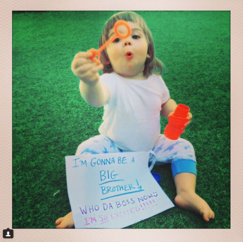 """<p>Jaime took to Instagram with a shot of son James Knight showing off a sign reading, """"I'm gonna be a big brother! Who da boss now :) I'm so excited!!!!!"""" Jaime adorably captioned the shot, """"So excited to announce THE SEQUEL Coming later this year!! ...#BabyTown2 - Created by@kyle_newman and @jaime_king. Also starring #JamesKnight.""""</p><p>Presumably James did not write that sign.</p>"""
