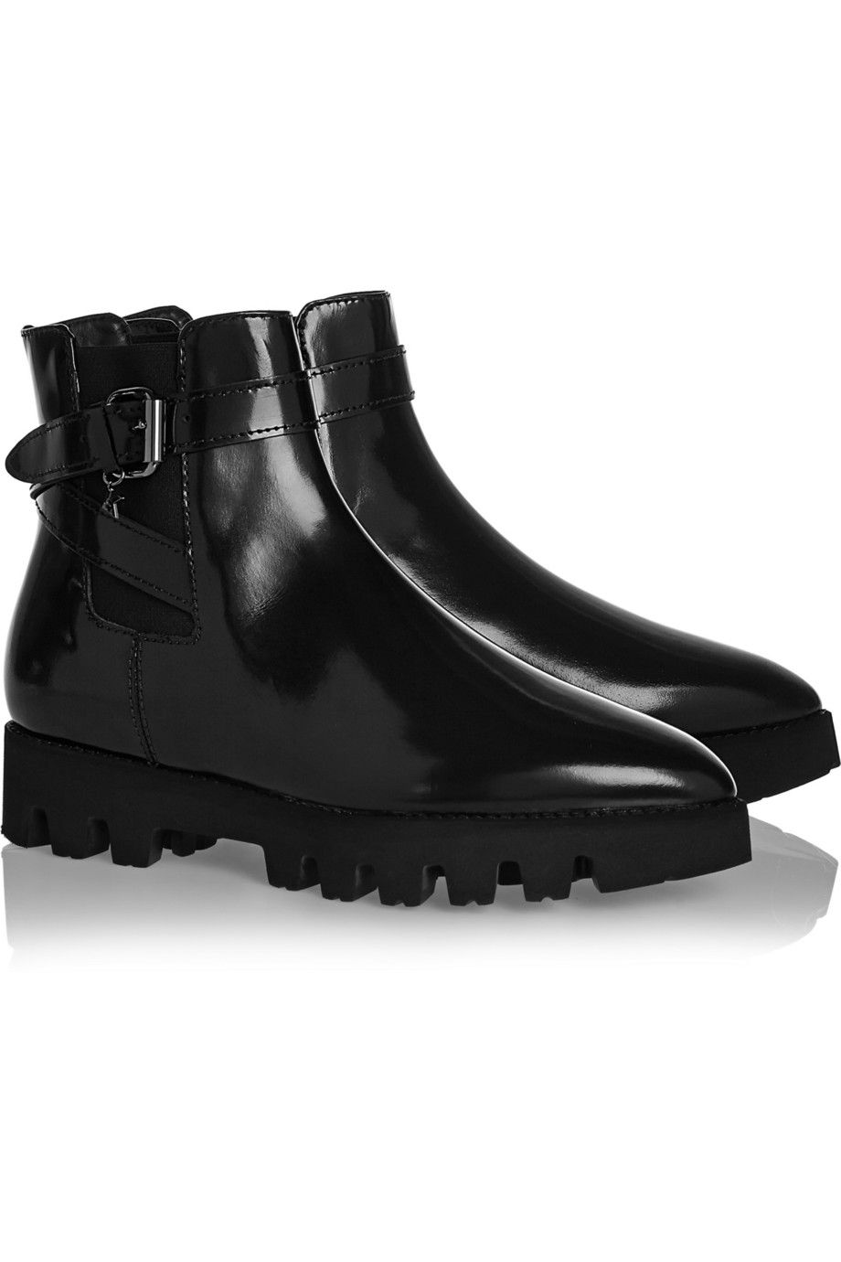 "<p>Karl Lagerfeld Ankle Boots, $273; <a href=""https://www.theoutnet.com/en-US/product/Karl-Lagerfeld/Glossed-leather-ankle-boots/453871"">theoutnet.com</a> </p>"