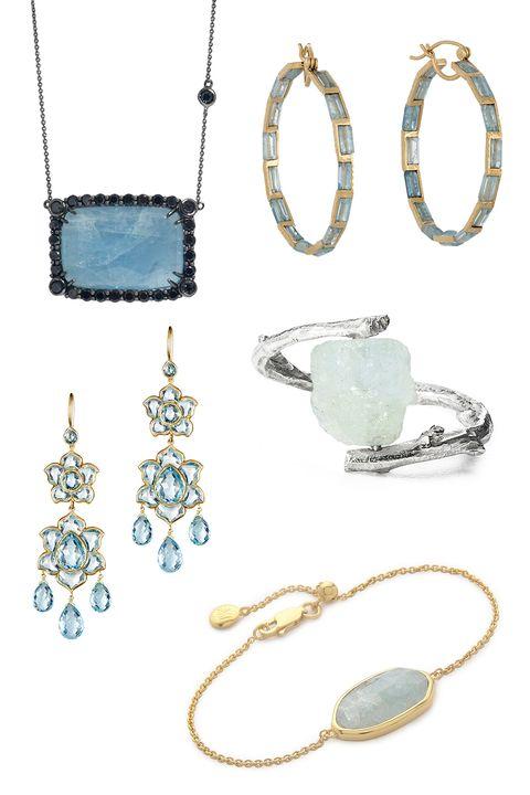 "<p>Meredith Marks Anika Necklace, $985; <a href=""https://www.wolfandbadger.com/us/anika-necklace/?utm_source=polyvoreUS&utm_medium=cpc&utm_campaign=polyvore-necklaces"">wolfandbadger.com</a></p><p class=""MsoNormal"">Nak Armstrong Gemstone oops, $3,520; <a href=""http://www.barneys.com/nak-armstrong-gemstone-hoops-504138853.html#q=aquamarine&start=8http://www.barneys.com/nak-armstrong-gemstone-hoops-504138853.html"">barneys.com</a></p><p class=""MsoNormal"">Munni Lotus Drop Earrings, $21,000; <a href=""http://www.barneys.com/munnu-lotus-drop-earrings-503960754.html#q=aquamarine&start=9"">barneys.com</a></p><p class=""MsoNormal"">Nancy Nelson Aquamarine Branch Ring, $70; <a href=""http://www.uncommongoods.com/product/aquamarine-branch-ring?utm_medium=affiliates"">uncommongoods.com</a></p><p class=""MsoNormal"">Monica Vinader Capri Chain Bracelet, $275; <a href=""https://www.shopbop.com/capri-chain-bracelet-monica-vinader/vp/v=1/1500719609.htm?folderID=2534374302024641&os=false&colorId=13041&extid=affprg_CJ_SB_US-2178999-ShopStyle.com&cvosrc=affiliate.cj.2178999"">shopbop.com</a></p>"