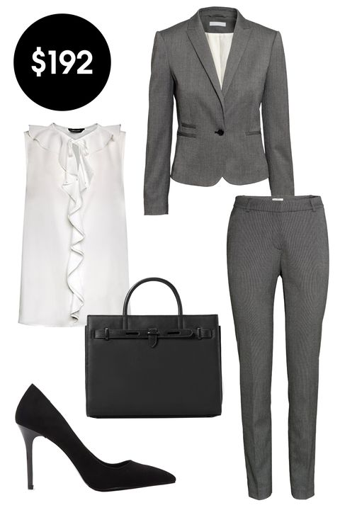 "<p>H&M Fitted Jacket, $35; <a href=""http://www.hm.com/us/product/95683?article=95683-E"">hm.com</a></p><p class=""MsoNormal"">H&M Suit Pants, $25; <a href=""http://www.hm.com/us/product/96475?article=96475-B&cm_vc=GOES_WITH_PD#/article=96475-E"">hm.com</a><o:p></o:p></p><p class=""MsoNormal"">New Look Sleeveless Ruffle Front Tie Neck Top, £15; <a href=""http://www.newlook.com/shop/womens/tops/tall-cream-sleeveless-ruffle-front-tie-neck-top_359216312"">newlook.com</a><o:p></o:p></p><p class=""MsoNormal"">Mango Tote Bag, $80; <a href=""http://shop.mango.com/US/p0/women/accessories/bags/tote-bag/?id=55005649_99&n=1&s=accesorios.bolsos&ident=0__0_1440746063702&ts=1440746063702"">mango.com</a><o:p></o:p></p><p class=""MsoNormal"">Forever 21 Faux Suede Pointed Pumps, $28; <a href=""http://www.forever21.com/Product/Product.aspx?BR=f21&Category=shoes_high-heels&ProductID=2000053370&VariantID="">forever21.com</a><br></p>"
