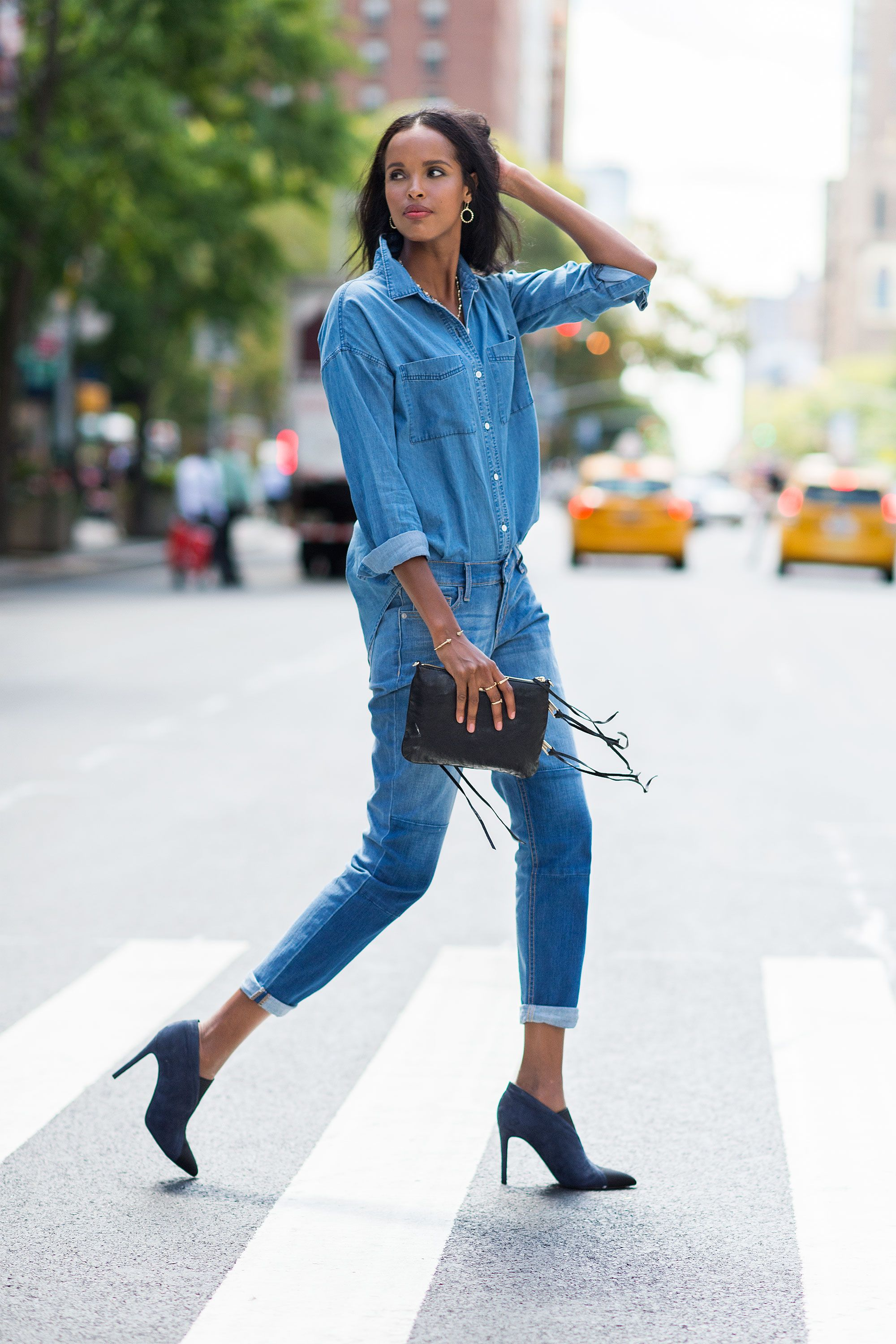 "<p>While the Canadian tuxedo is already <em>so</em> on trend, you can make double denim feel even more unbothered by cuffing the sleeves and ankles, as well as leaving the chambray shirt untucked in the back. No need for a belt; the two-tone booties and fringed clutch add that extra touch of sophistication.</p><p><em>Old Navy Boyfriend Chambray Shirt, $25, <a href=""http://oldnavy.gap.com/browse/product.do?cid=72302&vid=1&pid=597602002"" target=""_blank"">oldnavy.com</a>; Old Navy Boyfriend Skinny Ankle Jeans, $27, <a href=""http://oldnavy.gap.com/browse/product.do?cid=91608&vid=1&pid=714166002"" target=""_blank"">oldnavy.com</a>; Sigerson Morrison Garnet Booties, $450, <a href=""http://www.sigersonmorrison.com/garnet-16.html?color_true=DARK+BLUE+NUBUCK"" target=""_blank"">sigersonmorrison.com</a>; Rebecca Minkoff Mini M.A.C. Crossbody, $195, <a href=""http://www.rebeccaminkoff.com/mini-m-a-c-crossbody-black-light-gold-classic"" target=""_blank"">rebeccaminkoff.com</a>; Melinda Maria Pyramid Circle Drop Earrings, $98, <a href=""http://www.melindamaria.com"" target=""_blank"">melindamaria.com</a>; Melinda Maria Graham Lariat Necklace, $498, <a href=""http://www.melindamaria.com"" target=""_blank"">melindamaria.com</a>; Melinda Maria Mila Pave Bangle, $78, <a href=""http://www.melindamaria.com"" target=""_blank"">melindamaria.com</a>; Melinda Maria Pyramid Ring, $38, <a href=""http://www.melindamaria.com"">melindamaria.com</a>. </em></p>"