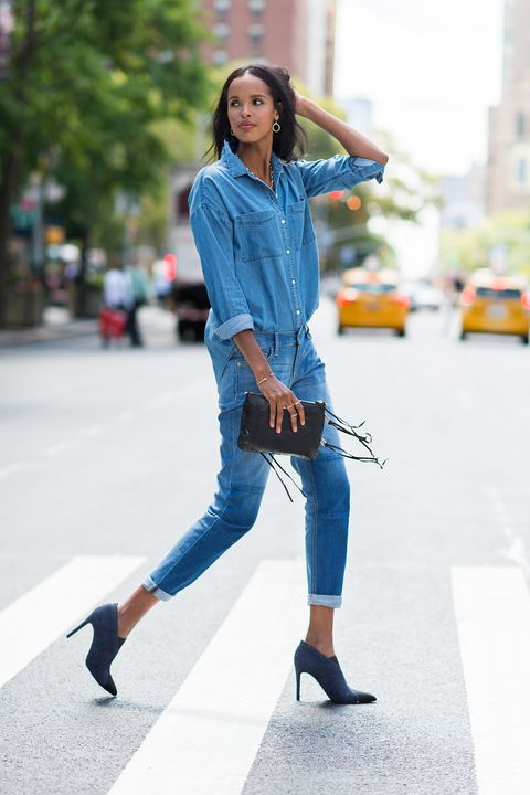 """<p>While the Canadian tuxedo is already <em>so</em> on trend, you can make double denim feel even more unbothered by cuffing the sleeves and ankles, as well as leaving the chambray shirt untucked in the back. No need for a belt; the two-tone booties and fringed clutch add that extra touch of sophistication.</p><p><em>Old Navy Boyfriend Chambray Shirt, $25, <a href=""""http://oldnavy.gap.com/browse/product.do?cid=72302&vid=1&pid=597602002"""" target=""""_blank"""">oldnavy.com</a>; Old Navy Boyfriend Skinny Ankle Jeans, $27, <a href=""""http://oldnavy.gap.com/browse/product.do?cid=91608&vid=1&pid=714166002"""" target=""""_blank"""">oldnavy.com</a>; Sigerson Morrison Garnet Booties, $450, <a href=""""http://www.sigersonmorrison.com/garnet-16.html?color_true=DARK+BLUE+NUBUCK"""" target=""""_blank"""">sigersonmorrison.com</a>; Rebecca Minkoff Mini M.A.C. Crossbody, $195, <a href=""""http://www.rebeccaminkoff.com/mini-m-a-c-crossbody-black-light-gold-classic"""" target=""""_blank"""">rebeccaminkoff.com</a>; Melinda Maria Pyramid Circle Drop Earrings, $98, <a href=""""http://www.melindamaria.com"""" target=""""_blank"""">melindamaria.com</a>; Melinda Maria Graham Lariat Necklace, $498, <a href=""""http://www.melindamaria.com"""" target=""""_blank"""">melindamaria.com</a>; Melinda Maria Mila Pave Bangle, $78, <a href=""""http://www.melindamaria.com"""" target=""""_blank"""">melindamaria.com</a>; Melinda Maria Pyramid Ring, $38, <a href=""""http://www.melindamaria.com"""">melindamaria.com</a>. </em></p>"""
