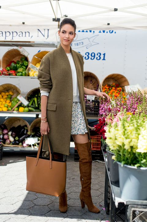 "<p>A flouncy floral skirt + sweatshirt combo can feel slightly adolescent as separates, but the addition of a collarless overcoat, a pair of suede over-the-knee boots, and an oversize tote gives this youthful look an adult spin.</p><p><em>Old Navy Boxy Terry-Fleece Top, $12, <a href=""http://oldnavy.gap.com/browse/product.do?cid=1036987&vid=1&pid=602840002"" target=""_blank"">oldnavy.com</a>; Old Navy Patterned Soft Skirt, $12, <a href=""http://oldnavy.gap.com/browse/product.do?cid=1011458&vid=1&pid=487223032"" target=""_blank"">oldnavy.com</a>; Nili Lotan Short V Coat, $1,150, <a href=""http://www.nililotan.com/jackets/short-v-coat-6895.html"" target=""_blank"">nililotan.com</a>; Old Navy Reversible Faux-Leather Tote, $29, <a href=""http://oldnavy.gap.com/browse/product.do?cid=7374&vid=1&pid=173181032"" target=""_blank"">oldnavy.com</a>;  Giuseppe Zanotti Tan Suede Over-the-Knee Boot, $1,595, <a href=""http://WWW.GIUSEPPEZANOTTIDESIGN.COM"" target=""_blank"">giuseppezanottidesign.com</a>; Melinda Maria Desalvo Cuff, $178, <a href=""http://www.melindamaria.com"" target=""_blank"">melindamaria.com</a>; Melinda Maria Katrina Pave Drop Earrings, $98, </em><em><a href=""http://melindamaria.com/e3273gwtcz.html"" target=""_blank"">melindamaria.com</a>; Melinda Maria Aubrey Pave Ring, $128, </em><em><a href=""http://www.melindamaria.com/r5302gwtcz.html"" target=""_blank"">melindamaria.com</a>. </em><a href=""http://www.melindamaria.com/r5302gwtcz.html"" target=""_blank""></a><em></em></p><p><em></em></p>"
