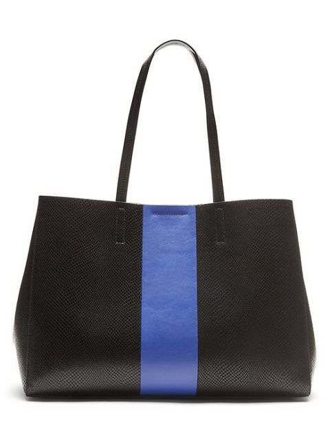 "<p>Banana Republic Larkin Racing-Stripe Tote, $188; <a href=""http://bananarepublic.gap.com/browse/product.do?cid=1032766&vid=1&pid=673123002"">bananarepublic.gap.com</a> </p>"