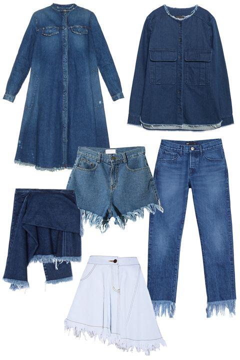 """<p>Rachel Comey Villa Frayed-Hem Denim Shirtdress, $495; <a href=""""http://www.matchesfashion.com/us/products/Rachel-Comey-Villa-frayed-hem-denim-shirtdress-1020394"""">matchesfashion.com</a></p><p class=""""MsoNormal"""">Zara Denim Overshirt, $60; <a href=""""http://www.zara.com/us/en/trf/outerwear/denim-overshirt-c665507p2776642.html"""">zara.com</a><o:p></o:p></p><p class=""""MsoNormal"""">Marques Almeida Denim Skirt, $630; <a href=""""http://www.thecorner.com/us/women/denim-skirt_cod42458361qd.html"""">thecorner.com</a><o:p></o:p></p><p class=""""MsoNormal"""">Stylenanda Fringe Decorated Denim Shorts, $43; <a href=""""http://en.stylenanda.com/product/Fringe-Decorated-Denim-Shorts--Dark-Blue-/SFSELFAA0042395/?main_cate_no=0&display_group=1"""">stylenanda.com</a><o:p></o:p></p><p class=""""MsoNormal"""">3x1 WM3 Crop Fringe Lima, $295; <a href=""""http://3x1.us/shop-women/wm3-crop-fringe-lima/"""">3x1.us</a><o:p></o:p></p><p class=""""MsoNormal"""">Pixie Market Denim Frayed Asymmetric Skirt, $88; <a href=""""http://www.pixiemarket.com/denim-frayed-asymmetric-skirt.html"""">pixiemarket.com</a></p>"""