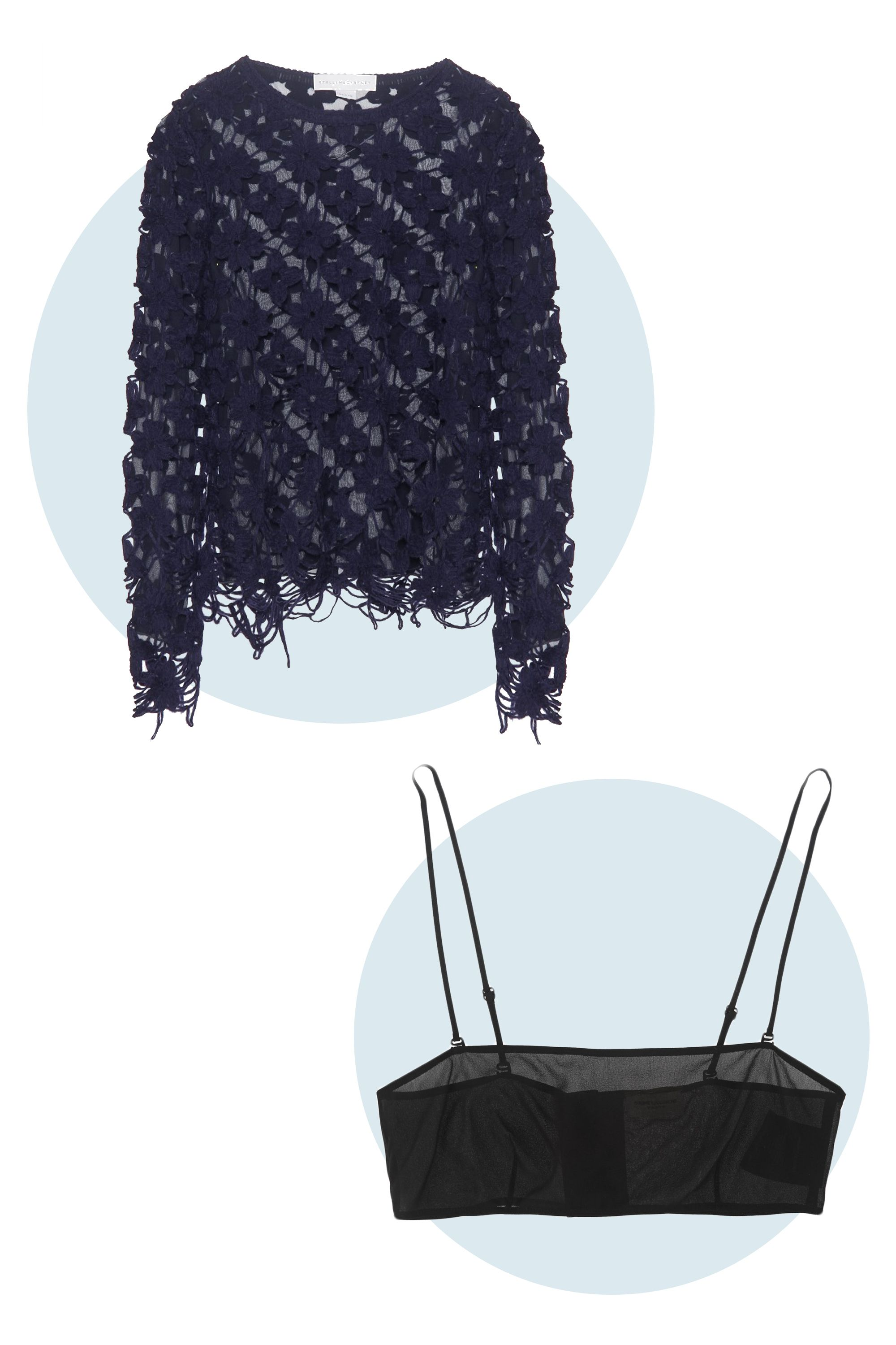 """<p>This open floral design is an airy departure from super-chunky knits, and deconstructed edges give it a cool edge. The clean lines of the bra are sleek and understated beneath the sweater's intricate weave. </p><p>Stella McCartney Floral Macramé Sweater, $1,720; <a href=""""http://www.mytheresa.com/en-us/mytheresa-com-exclusive-floral-macrame-sweater.html?utm_source=affiliate&utm_medium=polyvore.us"""" target=""""_blank"""">MyTheresa.com</a> </p><p>Saint Laurent Stretch-Silk Georgette Bandeau Bra, $690; <a href=""""http://www.net-a-porter.com/us/en/product/471916"""" target=""""_blank"""">Net-a-Porter.com</a></p>"""