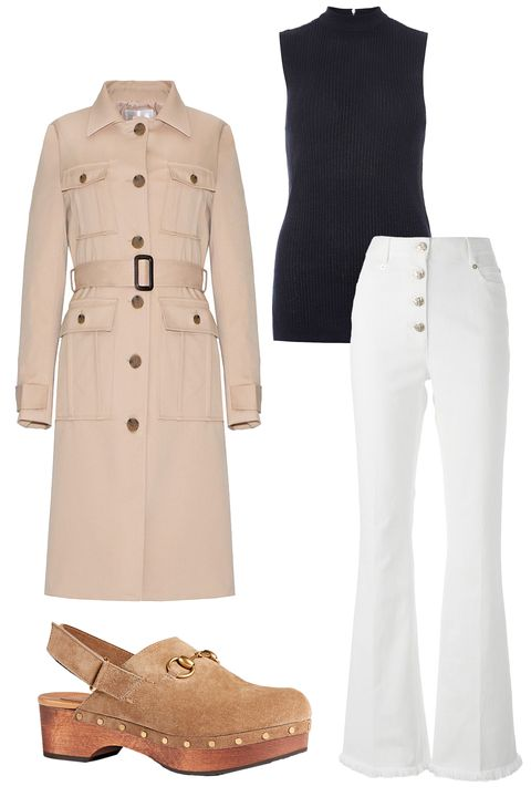 """<p>Pixie Market Chloe Tan Trench Coat, $154; <a href=""""http://www.pixiemarket.com/outerwear/chloe-tan-trench-jacket.html"""">pixiemarket.com</a></p><p><a href=""""http://www.pixiemarket.com/outerwear/chloe-tan-trench-jacket.html""""></a>Dorothy Perkins Longline Sparkle Shell Top, $29; <a href=""""http://us.dorothyperkins.com/en/dpus/product/clothing-788621/sweaters-1700922/navy-longline-sparkle-shell-top-4618573?bi=0&ps=200"""">dorothyperkins.com</a></p><p><a href=""""http://us.dorothyperkins.com/en/dpus/product/clothing-788621/sweaters-1700922/navy-longline-sparkle-shell-top-4618573?bi=0&ps=200""""></a>Sonia Rykiel High Waisted Flared Jeans, $670; <a href=""""http://www.farfetch.com/shopping/women/sonia-rykiel-highwaisted-flared-jeans-item-11057635.aspx?storeid=9352&ffref=lp_8_12_"""">farfetch.com</a></p><p><a href=""""http://www.farfetch.com/shopping/women/sonia-rykiel-highwaisted-flared-jeans-item-11057635.aspx?storeid=9352&ffref=lp_8_12_""""></a>Gucci Amstel Suede Clogs, $795; <a href=""""http://www.gucci.com/us/styles/397745CA0002807"""">gucci.com</a></p>"""