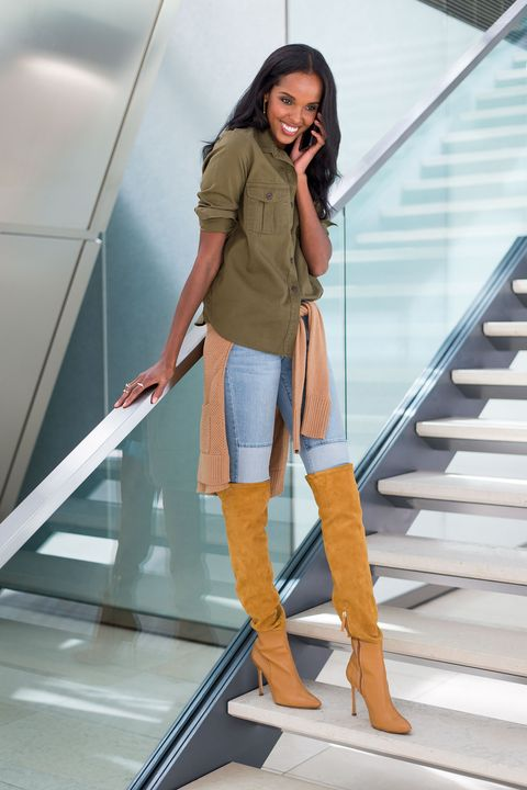 "<p>The trick to dressing up casual separates lies in the styling details (and sticking with a similar color palette). Half tuck a button-down top into a pair of skinny jeans and scrunch up the sleeves. Tie a cozy cardigan around your waist in lieu of a belt. Elevate this laidback outfit with a sexy pair of over-the-knee boots. </p><p><em>Old Navy Classic Twill Shirt, $24, <a href=""http://oldnavy.gap.com/browse/product.do?cid=72302&vid=1&pid=597463002"" target=""_blank"">oldnavy.com</a>; Old Navy jeans, $tk, tk.com; Old Navy Textured-Knit Boyfriend Cardigan, $34, <a href=""http://oldnavy.gap.com/browse/product.do?cid=60783&vid=1&pid=486026002"" target=""_blank"">oldnavy.com</a>; Chelsea Paris Nes Boots, $995, <a href=""http://www.chelseaparis.com"" target=""_blank"">chelseaparis.com</a>; Jennifer Fisher Brass Double Band Ring, $275, <a href=""http://jenniferfisherjewelry.com/double-band-ring"" target=""_blank"">jenniferfisherjewelry.com</a>.</em></p>"