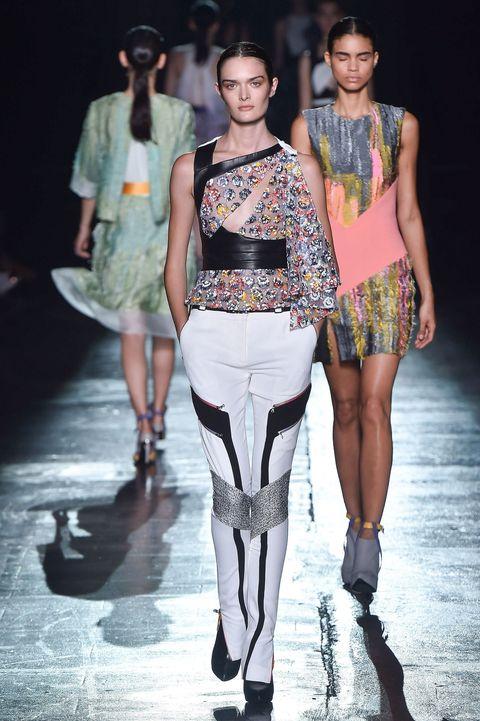 Clothing, Leg, Fashion show, Human body, Shoulder, Runway, Fashion model, Joint, Style, Waist,