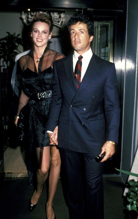 <p>Brigitte Nielsen and Sylvester Stallone outside Le Cirque restaurant in New York City.</p>