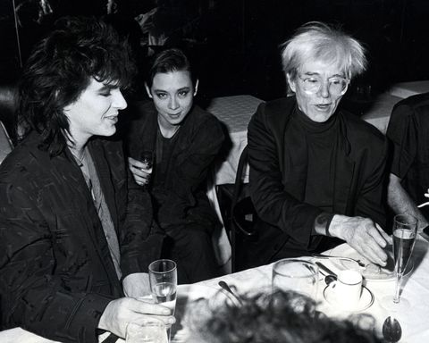 <p>Nick Rhodes, Tina Chow, and Andy Warhol during Andy Warhol's 58th Birthday Party at Mr. Chow's restaurant in New York City.</p>