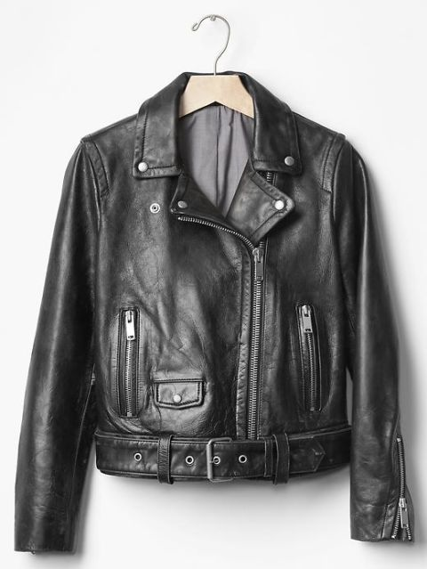 "<p>With denim or a slipdress, leather lends a welcome edge.</p><p>Gap Leather Biker Jacket, $348; <a href=""http://www.gap.com/browse/product.do?vid=1&pid=534031002"">gap.com</a> </p>"