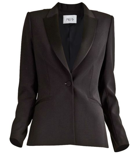 "<p>The ultimate in understated, androgynous glamour.</p><p>Pallas Paris Apollon Satin-Trimmed Wool Crepe Blazer, $2,060; <a href=""http://justoneeye.com/apollon-blazer.html"">justoneeye.com</a> </p>"