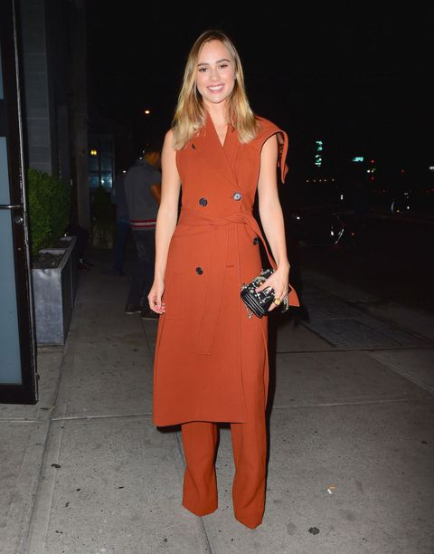 "<p>Who: Suki Waterhouse</p><p class=""MsoNormal"">When: September 15, 2015</p><p class=""MsoNormal"">Why: Suki Waterhouse hit the <em>Interview</em> NYFW party in a burnt orange vest-and-pant combo that's the perfect study in transitional-weather dressing. </p>"