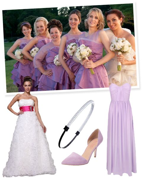 "<p>After your squad is done fighting over who gets to be the bride, grab a glass of wine and enjoy getting dressed up together. A long purple maxi makes the perfect <em>Bridesmaids</em> bridesmaid's dress. Pair it with a shoe you can actually dance in and tuck flyaways under a silvery headband to finish the look.<br></p><p><em><a href=""http://us.johnlewis.com/store/true-decadence-bow-pleat-maxi-dress-light-pink/p1887760"">Lavender Maxi Dress</a>, True Decadence (available at John Lewis), $97; <a href=""http://www.lastcall.com/Cluny-Asymmetric-Peplum-Silk-Charmeuse-Dress-Orchid/prod22970015/p.prod"">Purple Peplum Dress</a>, Cluny (available at Neiman Marcus Last Call), $42; <a href=""http://www.discountdressshop.com/rosette-pattern-ruched-hot-pink-waistline-full-length-wedding-gown.html"">Wedding Dress</a>, Discount Dress Shop, $268; <a href=""http://www.forever21.com/Product/Product.aspx?BR=f21&Category=acc_hair&ProductID=1000097859&VariantID="">Threaded Headband</a>, Forever 21, $2; <a href=""http://www.gilt.com/brand/best-society/product/1079828043-best-society-everly-two-piece-mid-heel-pump?utm_source=polyvore&utm_medium=affiliate&utm_campaign=affiliate:polyvore&utm_content=Everly+Two+Piece+Mid+Heel+Pump"">Lavender Suede Heels</a>, Best Society (available at Gilt), $50</em></p>"