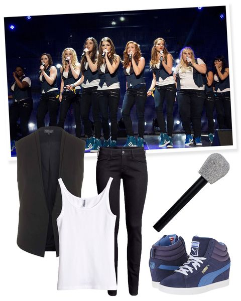 "<p>Happy Aca-ween! Slay with your vocals and your cute, matching, <em>Pitch Perfect</em>-style performance outfits. This is a costume that should pretty much already be in your closet. Take your black skinnies/white tank combo up a notch with platform sneakers, a vest, and, of course, a microphone. Bonus points for having a song you can aca together.</p><p><em><a href=""http://www.hm.com/us/product/14236?article=14236-H&cm_vc=SEARCH"">White Tank</a>, H&M, $6; <a href=""http://us.topshop.com/en/tsus/product/sale-offers-4181343/sale-3271009/jackets-coats-70870/sleeveless-tailored-jacket-4437071?cmpid=aff_polyus_cpc_jackets"">Black Tailored Vest</a>, Topshop, $40; <a href=""http://www.hm.com/us/product/00983?article=00983-A&cm_vc=SEARCH"">Black Skinny Jeans</a>, H&M, $10; <a href=""http://www.6pm.com/puma-pc-wedge-basic-sports-crown-blue?utm_medium=cse&zhlfid=216&channel=216&si8509240-VG-Blue=&mr:referralID=4ab09956-3c83-11e5-86b7-0050569406b5&utm_source=polyvore"">Blue Wedge Sneakers</a>, Puma (available at 6pm), $56; <a href=""http://www.partycity.com/product/glitter+microphone.do?sortby=ourPicks&carousel=true&navSet=279792"">Glittery Microphone</a>, Party City, $5</em></p>"