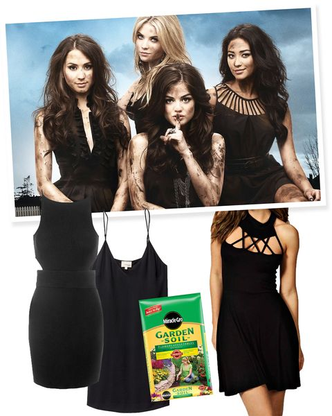 "<p>Pregame this costume by watching every Halloween episode of PLL. Then grab your signature LBD, rub some dirt on your face/arms/body, and you're good to go!  </p><p><em><a href=""http://www.lowes.com/pd_12796-446-73451400_0__?k_clickID=5bb378ca-5385-48a7-a76a-6391df75693e&store_code=1674&productId=3010668&selectedLocalStoreBeanArray=%5Bcom.lowes.commerce.storelocator.beans.LocatorStoreBean%402ca02ca%5D&storeNumber=1674&kpid=3010668&kpid=3010668&cm_mmc=AFF_CJ-_-2687457-_-2205077-_-10926682&CAWELAID=&CAWELAID=1367994038&AID=10926682&PID=2687457&SID=392f7a9a2482430c8e06505852b916d5"">Garden Soil</a>, Miracle Gro (available at Lowe's), $5; <a href=""http://us.topshop.com/en/tsus/product/clothing-70483/dresses-70497/little-black-dresses-3104972/cut-out-mini-bodycon-dress-4495348?cmpid=aff_polyus_cpc_cocktail%20dresses"">Cutout Little Black Dress</a>, Topshop, $60; <a href=""http://www.boohoo.com/new-in/hannah-cage-detail-skater-dress/invt/azz01795"">Caged Neck Little Black Dress</a>, Boohoo, $14; <a href=""http://us.aritzia.com/product/vivienne-dress/55838.html?dwvar_55838_color=5830"">Spaghetti Strap Little Black Dress</a>, Wilfred (available at Aritzia), $38</em></p>"